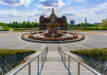 The Doulton fountain is the largest terracotta fountain in the world , located on Glasgow Green ,  Glasgow , Scotland Wall mural