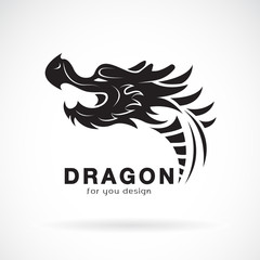 Vector of dragon head design on a white background. Animals. Dragon logo or icon.