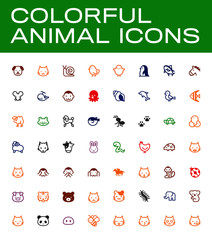 Isolated Cute Animal Vector Emojis, Emoticons, Flat Icons