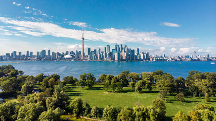 Toronto, Ontario, Canada, Aerial View of Toronto Skyline and Lake Ontario Wall mural