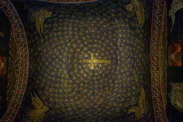 mosaico oro e blu