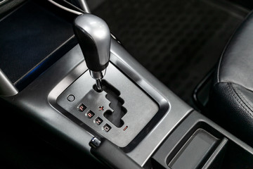 Automatic gear stick inside modern car.  automatic transmission gear of car , car interior