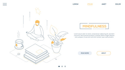 Mindfulness - line design style isometric web banner