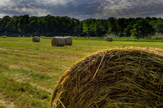 HDR Photo of Sraw Bales on the field with clouds and blue sky.