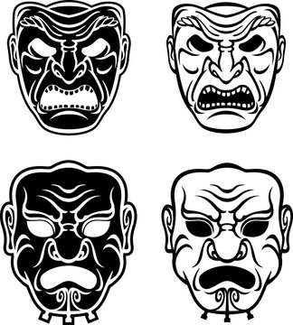 Samurai Masks Set, Isolated Vector