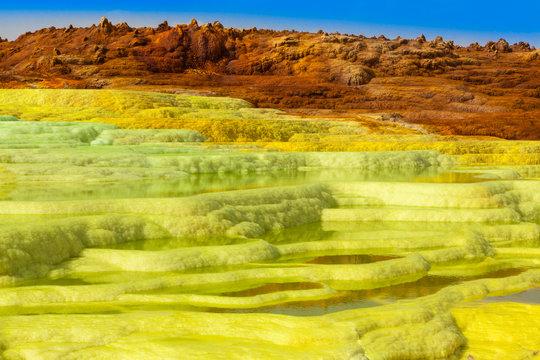Dallol sulfur Springs in The Danakil Depression