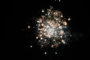 Fireworks in the night sky. Multicolored fireworks at night