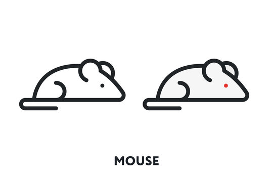 Mouse Rat Animal Tail Vector Flat Line Icon Illustration.