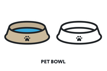 Pet Bowl Dish Plate Dry Food Water. Vector Flat Line Icon Illustration. Wall mural