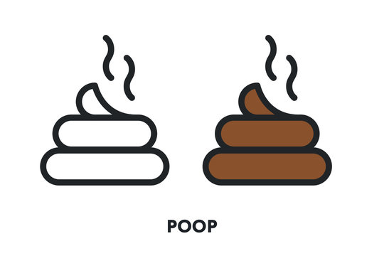 Pet Poop Poo Excrement Stink. Vector Flat Line Icon Illustration.