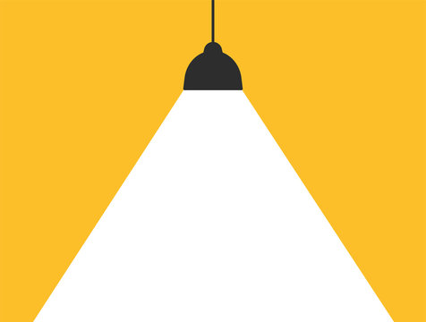 Concept lamp that emits white light on a modern yellow background to add your message.