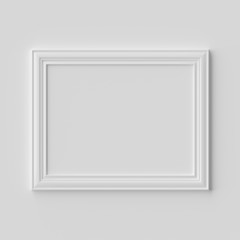 White horizontal photo or picture frame on white wall with shadows