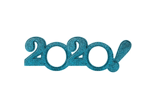 2020 numbers isolated. Two thousand and twentieth New Year! Holiday glasses in the form of figures two thousand and twentieth year on a white background.