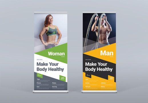 Roll Up Banner Layouts with Colored Triangle Designs