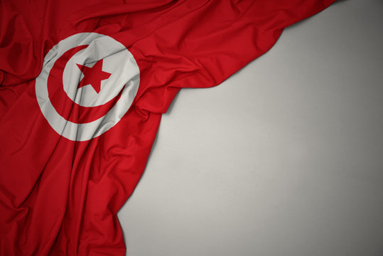 waving national flag of tunisia on a gray background.