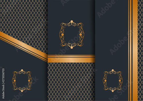 Abstract Geometric Floral Art Decor Golden Background