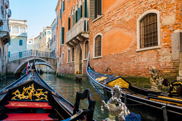 View of the Canal from a gondola in Venice, Italy.