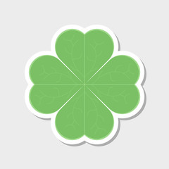 Clover leaf icon. Sticker. Vector illustration on white background