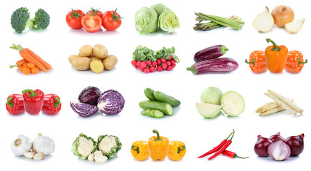 Vegetables carrots tomatoes cucumber onion cabbage bell pepper lettuce vegetable food isolated Wall mural