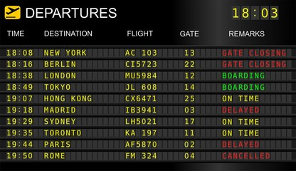 Flight information display system in international airport, cancelled and delayed flights Wall mural