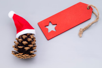 Pine crone with Santa hats and blank label
