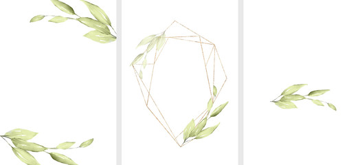 Ready to use Card. Herbal Watercolor invitation design with leaves. flower and watercolor background. floral elements, botanic watercolor illustration. Template for wedding.   frame Wall mural