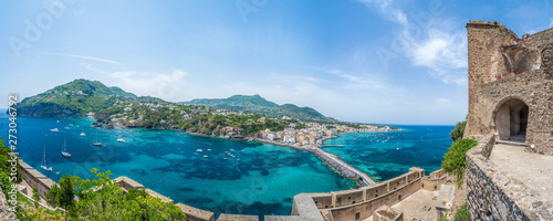 Wall mural Landscape with Porto Ischia, view on Aragonese Castle, Ischia island, Italy