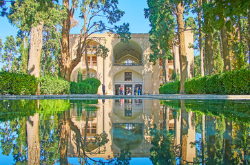 Clear waters of Fin Garden main pool, Kashan, Iran
