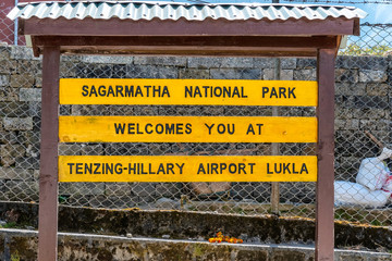 Welcome sign at Lukla Airport in Nepal.