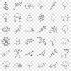 Travel icons set. Outline style of 36 travel vector icons for web for any design