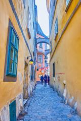 The narrow street in old Vienna, Austria