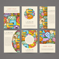 Doodle colorful hand drawn cards for kids and play. Cartoon design artistic print templates