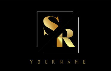 SR Golden Letter Logo with Cutted and Intersected Design