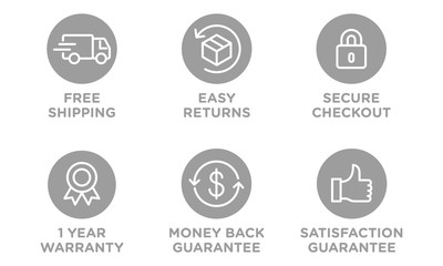 E-commerce security badges risk-free shopping icons set Wall mural