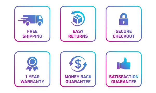 E-commerce security badges risk-free shopping icons set