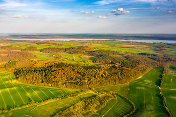 aerial view of rural landscape during a sunny day in spring