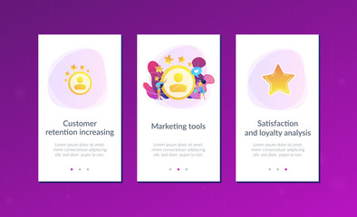Marketer measuring customer satisfaction and rating stars. Satisfaction and loyalty analysis, customer retention increasing, marketing tools concept. Mobile UI UX GUI template, app interface wireframe