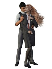 Academy Couple. Man and woman embrace. 3d render.