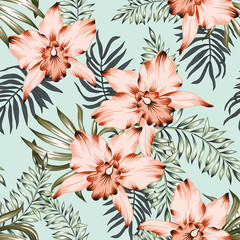 Tropical orchid flowers and palm leaves bouquets, mint background. Vector seamless pattern. Jungle foliage illustration. Exotic plants. Summer beach floral design. Paradise nature