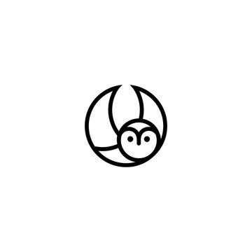 owl bird logo circle illustration line art style vector graphic download