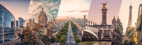 Wall mural Paris famous landmarks collage