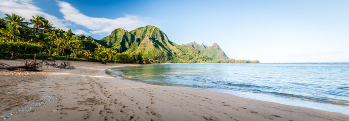 Tunnels Beach Panorama - Haena, Kauai Hawaii Fototapete