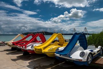 Colouful pedal boats at summer on Lake Balaton in Hungary