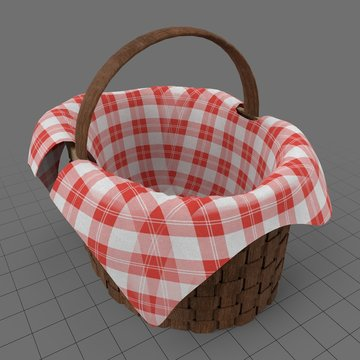 Picnic basket with plaid cloth