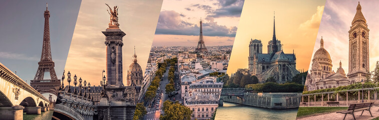 Paris famous landmarks collage Fototapete