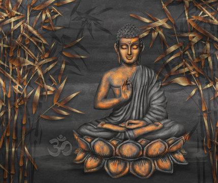 Golden sitting Buddha digital art