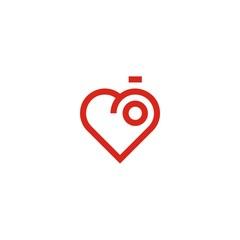 lens photography logo heart vector icon