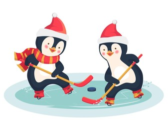 penguin play ice hockey in the winter