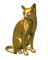 Fantasy illustration of a statue of a gold siamese cat sitting looking to its right, 3d digitally rendered illustration