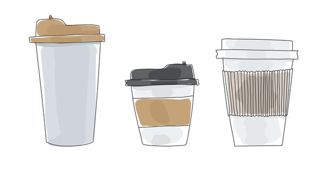 Coffee cups to go paper hand drawn art cute vector illustration